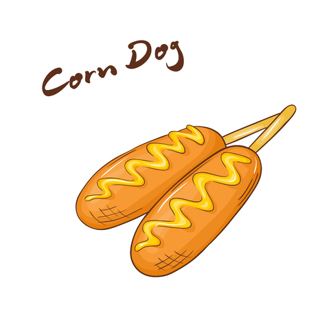 panini: vector illustration of an isolated cartoon hand drawn fast food. Corn dog. Take it away. Illustration
