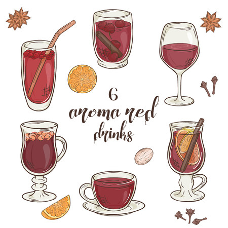 vector set of 6 isolated cartoon hand drawn aroma red drinks