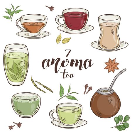 vector set of 6 isolated cartoon hand drawn aroma tea Illustration