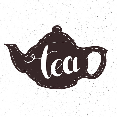 gunpowder: vector hand drawn lettering tea badge, labels, signs. Monochrome design with stylish elements Illustration