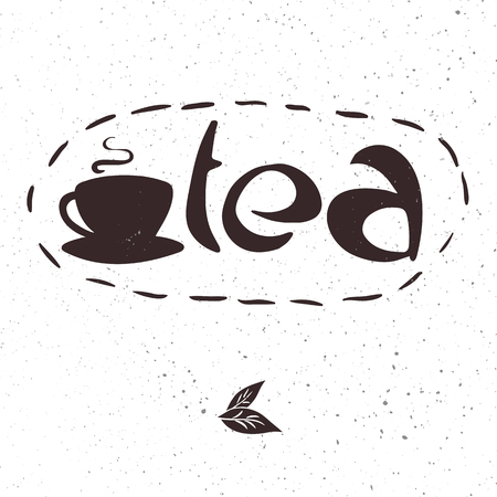 oolong: vector hand drawn lettering tea badge, labels, signs. Monochrome design with stylish elements Illustration