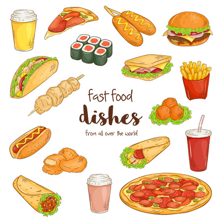 cheese burger: vector illustration of set with isolated cartoon hand drawn fast food dishes Illustration