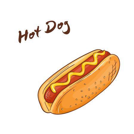 sesame street: vector illustration of isolated cartoon hand drawn fast food. Hot dog.