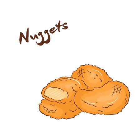 pollo a la plancha: ilustraci�n vectorial de la mano aislada del dibujo animado hecho de comida r�pida. Pepitas.