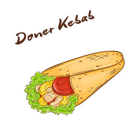 sandwich de pollo: ilustraci�n vectorial de la mano aislada del dibujo animado hecho de comida r�pida. donner kebab. Vectores