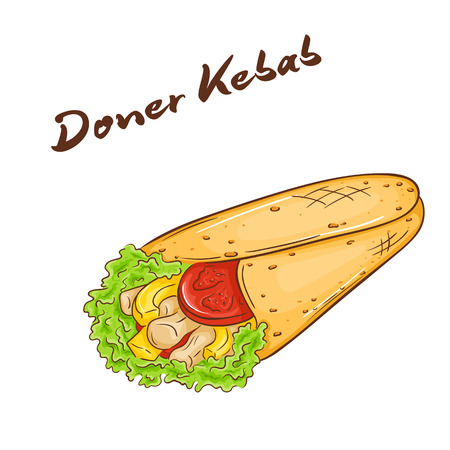 pita bread: vector illustration of isolated cartoon hand drawn fast food. Donner kebab. Illustration