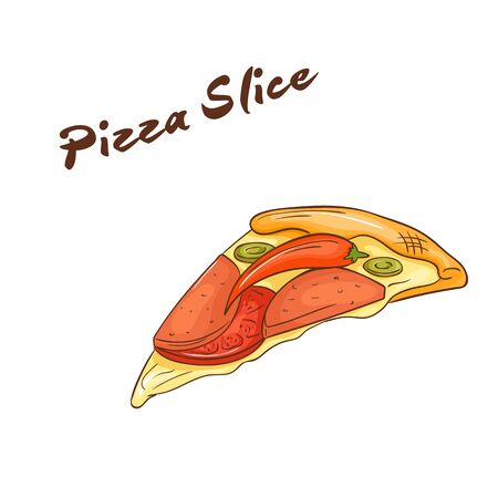 picnic food: vector illustration of isolated cartoon hand drawn fast food. Slice of pizza.