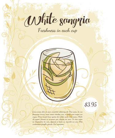 sangria: vector hand drawn illustration of drinks menu pages with cup of white apple sangria.