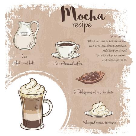 vecteur main illustration tirée de la recette de moka avec la liste des ingrédients. Vecteurs