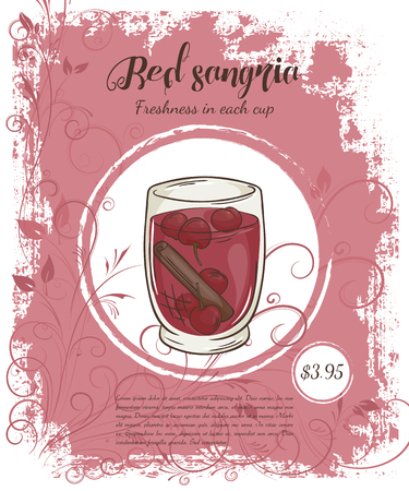 sangria: vector hand drawn illustration of drinks menu pages with cup of red cherry sangria.
