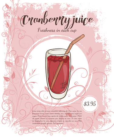 cranberry illustration: vector hand drawn illustration of drinks menu pages with cup of cranberry juice. Illustration