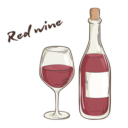 vector hand drawn illustration of bottle and glass of red wine.