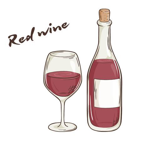 wektor wyciągnąć rękę ilustracją butelkę i kieliszek czerwonego wina.