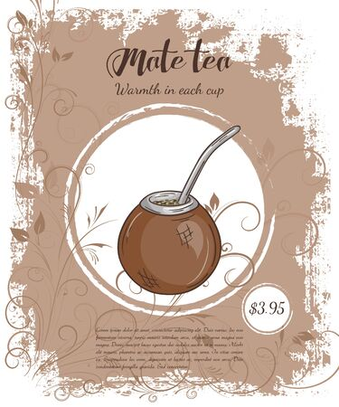 vector hand drawn illustration of drinks menu pages with cup of mate. Illustration