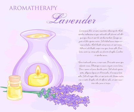 vector illustration of oil burner with lavender flovers and essential oil.