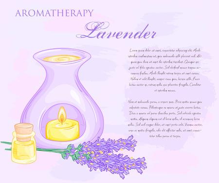 Vektor-Illustration von Ölbrenner mit Lavendel flovers und ätherisches Öl.
