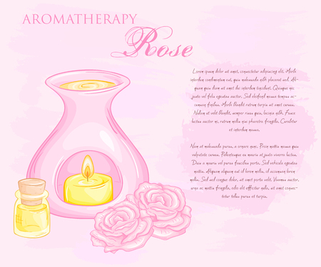 vector illustration of oil burner with rose flovers and essential oil.