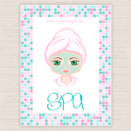 facial mask: vector illustration of spa party invitation with colorful mosaic frame with woman with head wrapped towel and cosmetic facial mask.