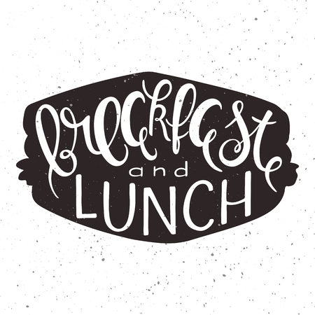 vector illustration of hand lettering inspiring quote - breckfast and lunch in sandwich silhouette
