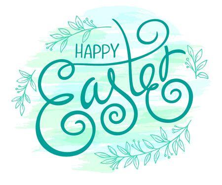 familia cristiana: vector dibujado a mano Cita de las letras de Pascua con remolinos y rizos y las ramas florales.