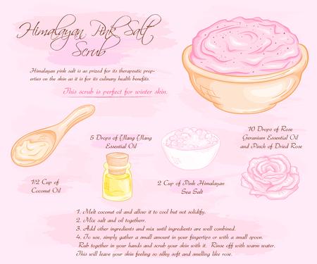 scrub: vector hand drawn illustration of hymalayan pink rose salt scrub recipe. Illustration