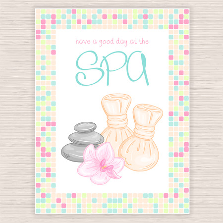 thai orchid: vector illustration of spa party invitation with colorful mosaic frame with thai herbal massage accessory - balls, stones, orchid.