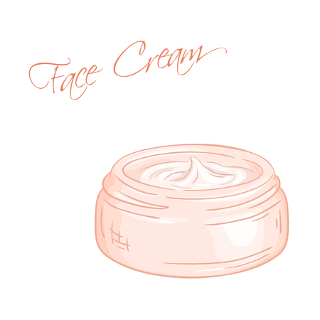 vector hand drawn illustration of isolated cream jar.