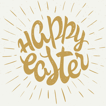 ostern: vector hand drawn easter lettering golden greeting quote with splashes. Illustration