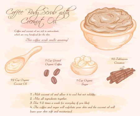 illustration of coffee scrub with coconut oil recipe.