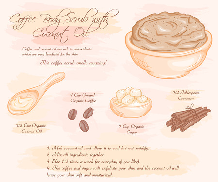 illustration of coffee scrub with coconut oil recipe.