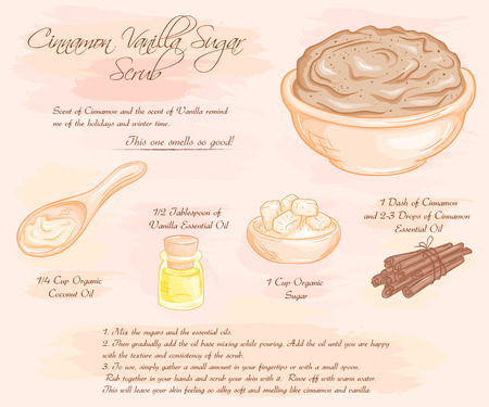 woman hygiene protection: illustration of  cinnamon vanilla sugar scrub recipe.