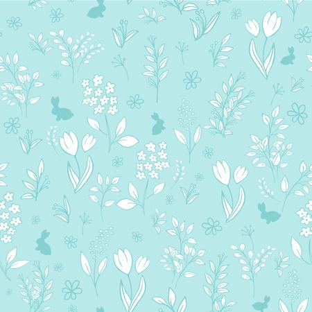mimose: vettore disegnato a mano motivo floreale orientale senza soluzione di continuit� con i rami, i tulipani, lill�, mimose e sagome di coniglio.