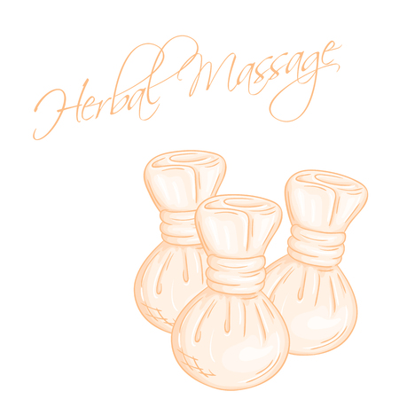 compress: vector hand drawn illustration of isolated herbal compress massage balls.