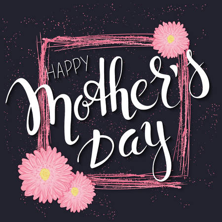 flower concept: vector hand drawn mothers day lettering with branches, swirls, flowers and quote - happy mothers day. Can be used as mothers dar card or poster. Illustration