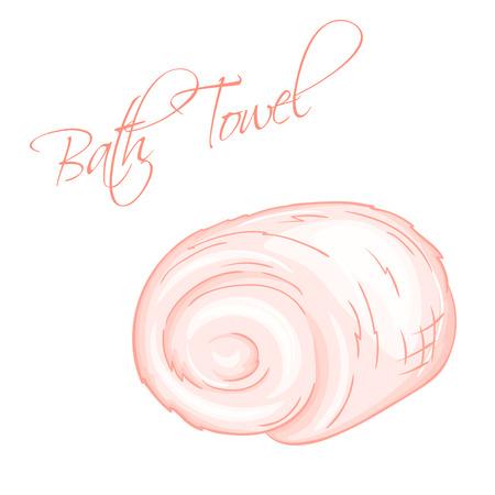 oriental medicine: vector hand drawn illustration of isolated bath towel. Illustration