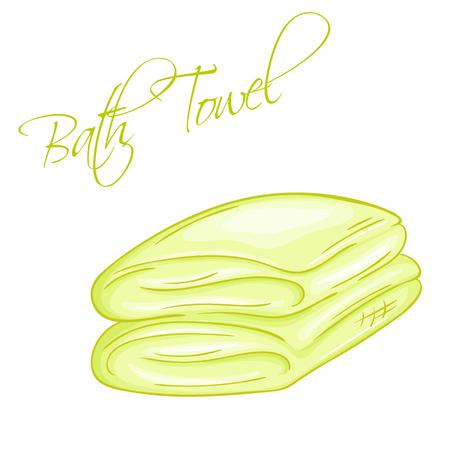 vector hand drawn illustration of isolated bath towel. Illustration