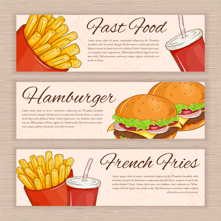 soda water: vector set of hand drawn fast food banners with french fries, hamburger and soda water.