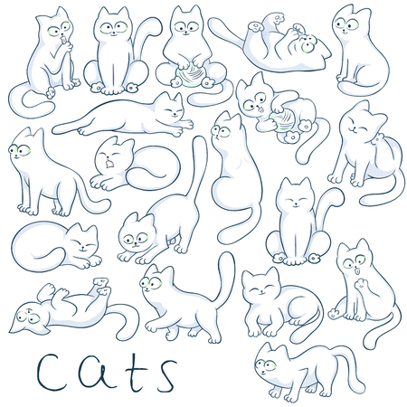 kitties: vector hand drawn set of cats in different poses. These fluffy, cute kitties are jumping, sitting, climbing, sleeping, playing, hunting and waiting for you.
