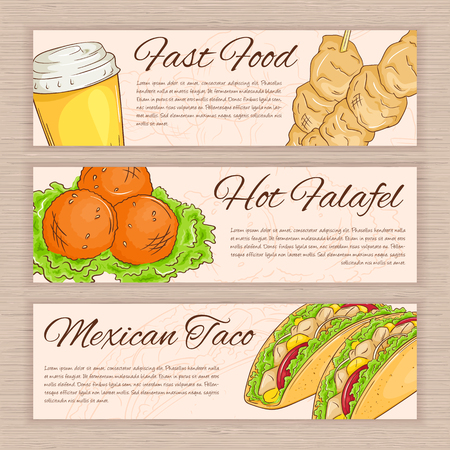 soda water: vector set of hand drawn fast food banners with falafel, taco, soda water and souwlaki.