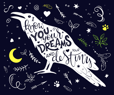 vector hand drawn lettering inscribed in raven silhouette surrounded with curly, swirly, arrow, feather shapes.