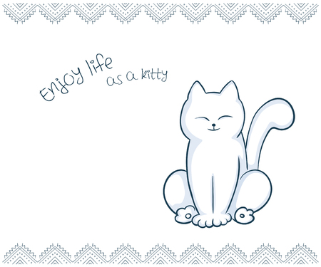vector printable illustration of nice gift postcard with  hand drawn cute cat and inspiration funny message. Ilustração