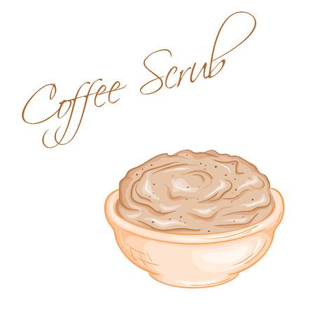 vector hand drawn illustration of isolated coffee body scrub. Illustration