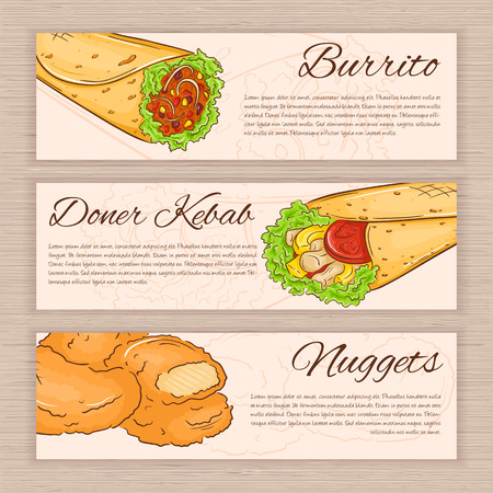 donner: vector set of hand drawn fast food banners with donner kebab, nuggets and burrito. Illustration
