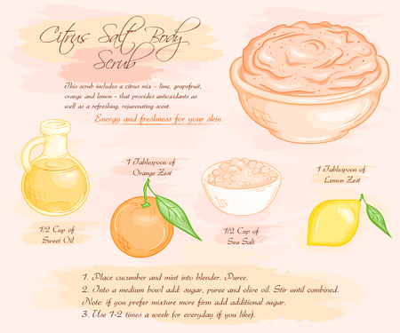 scrub: vector hand drawn illustration of  salt scrub recipe