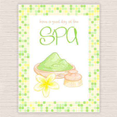 plumeria flower: vector illustration of spa party invitation with colorful mosaic frame with clay, plumeria flower and body brush.