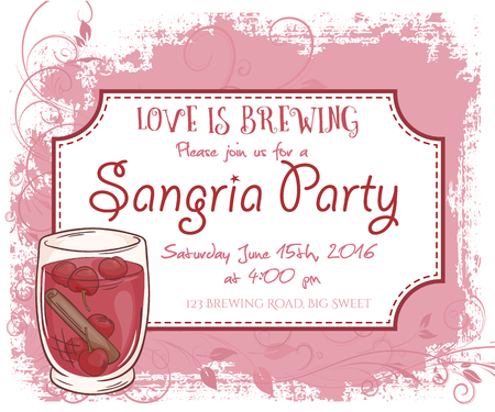 sangria: vector hand drawn sangria party invitation card, vintage frame, glass and leaves.