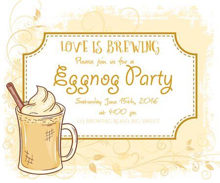 eggnog: vector hand drawn eggnog  party invitation card, vintage frame, glass and leaves.