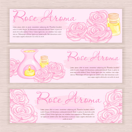 vector hand drawn banner with rose  and oil burner.