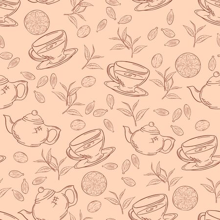 gunpowder tea: vector hand drawn seamless pattern with outlines cup of tea, teapot, leaf and lemon. Illustration