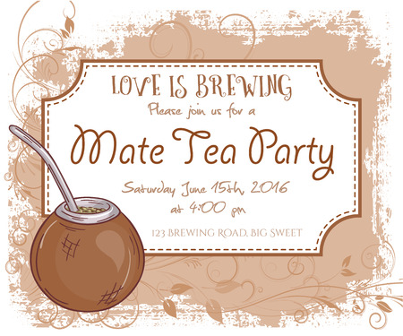 mate: vector hand drawn mate tea party invitation card, vintage frame, glass and leaves. Illustration